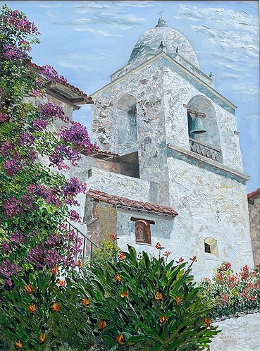 "Carmel Mission Bell Tower original oil painting 40""x30"""