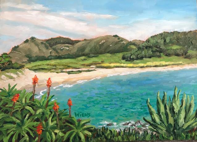 """""""Carmel River Beach"""" 5x7"""" oil on gessobord"""