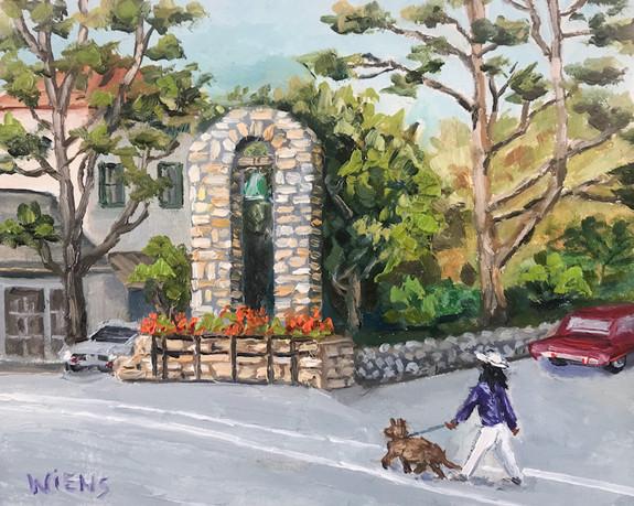 """Carmel Street Scene"" 4x5"" oil on gessobord"