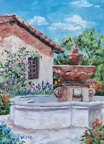 """""""Mission Fountain"""" 7x5"""" oil on gessobord"""