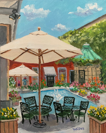 """""""Court of the Fountains"""" 5x4"""" oil on gessobord"""