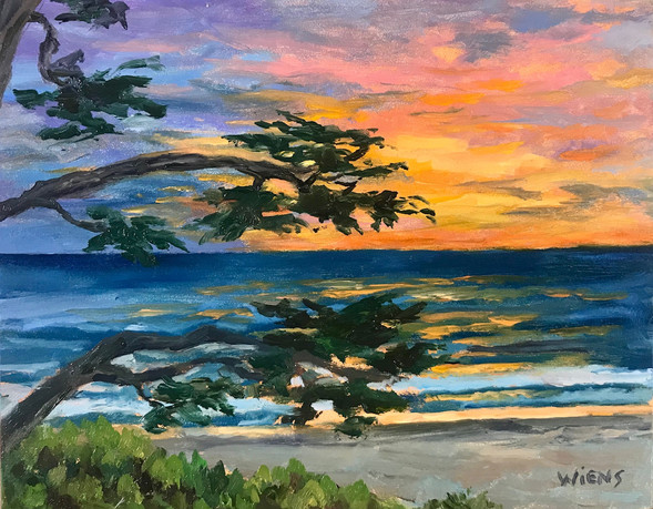 """""""Carmel Beach Sunset"""" 4x5"""" oil on gessobord"""
