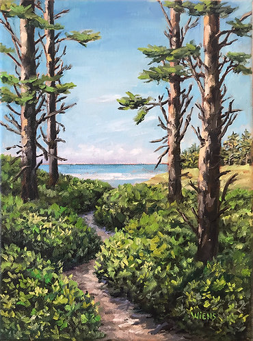 """Trail to the Beach 12x9"""" original oil painting"""