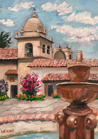 """""""Mission Courtyard"""" 7x5"""" oil on gessobord"""