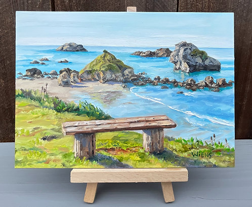 """Pebble Beach Bench 5x7"""" original oil painting includes easel"""