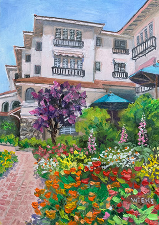 """La Playa Hotel"" 7x5"" oil on gessobord"