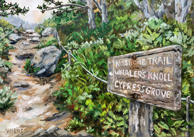 """""""Hiking in Point Lobos"""" 5x7"""" oil on gessobord"""