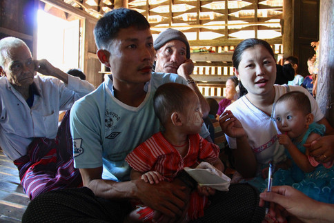 Plantation worker Pho La Lone is waiting with his son to be tested for malaria in Ta Gay Laung village hall in Kayin state, a remote area in the south near the border with Thailand.   Myanmar has become the new frontier in the fight against drug-resistant malaria, one of the biggest threats to global health.