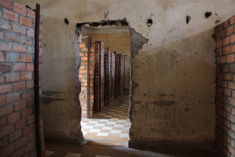 The Tuol Sleng Genocide Museum in Phnom Penh used to be a high school that became the notorious S-21 prison and execution centre during the Khmer Rouge regime.