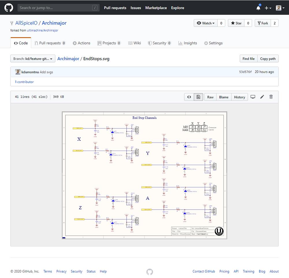 Altium schematic rendered in GitHub