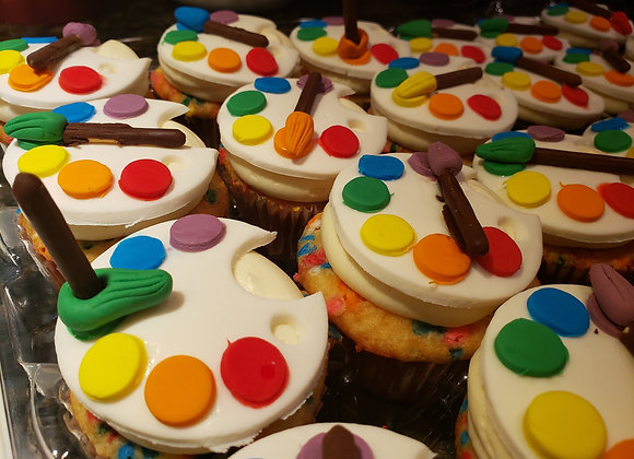 Paint themed fondant cupcakes