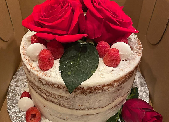 Raspberry White Chocolate Naked Rose Cake