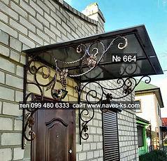 Металлический козырьок с коваными элементами в виде виноградной лозы из монолитного поликарбоната над входной дверью