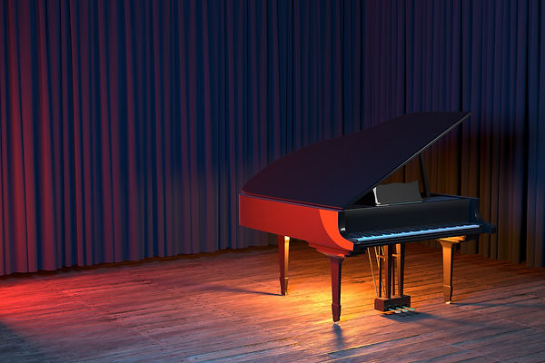 Grand Piano on the stage of concert hall