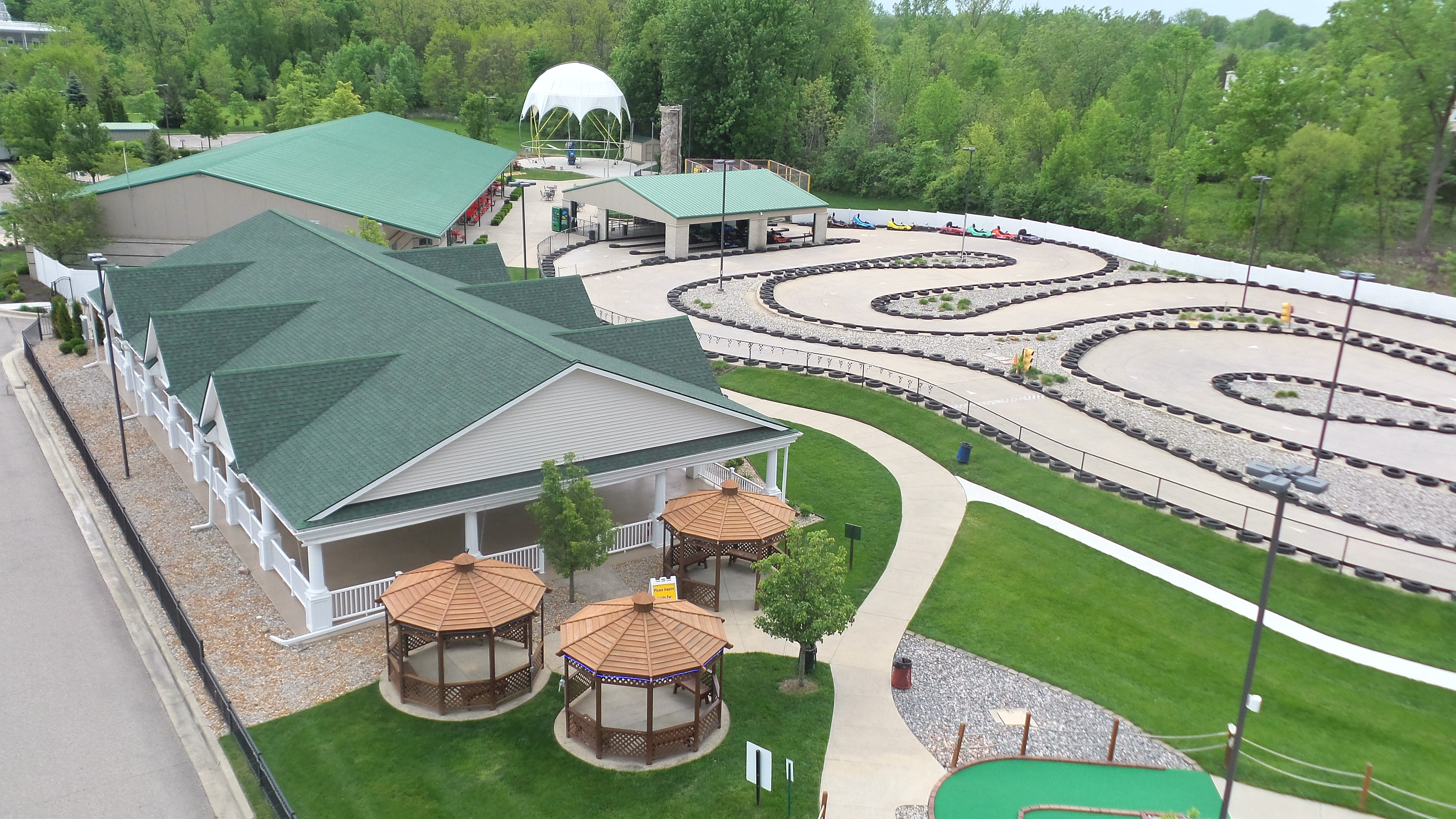 aerial view go karts