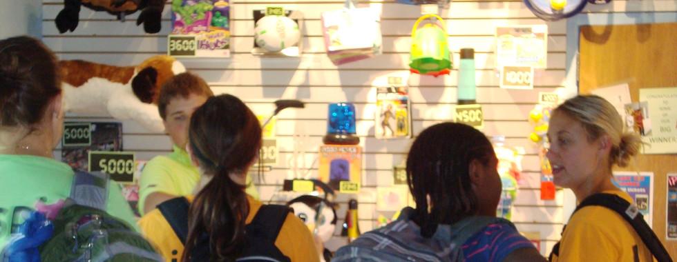 Field Trip kids getting items in redemption