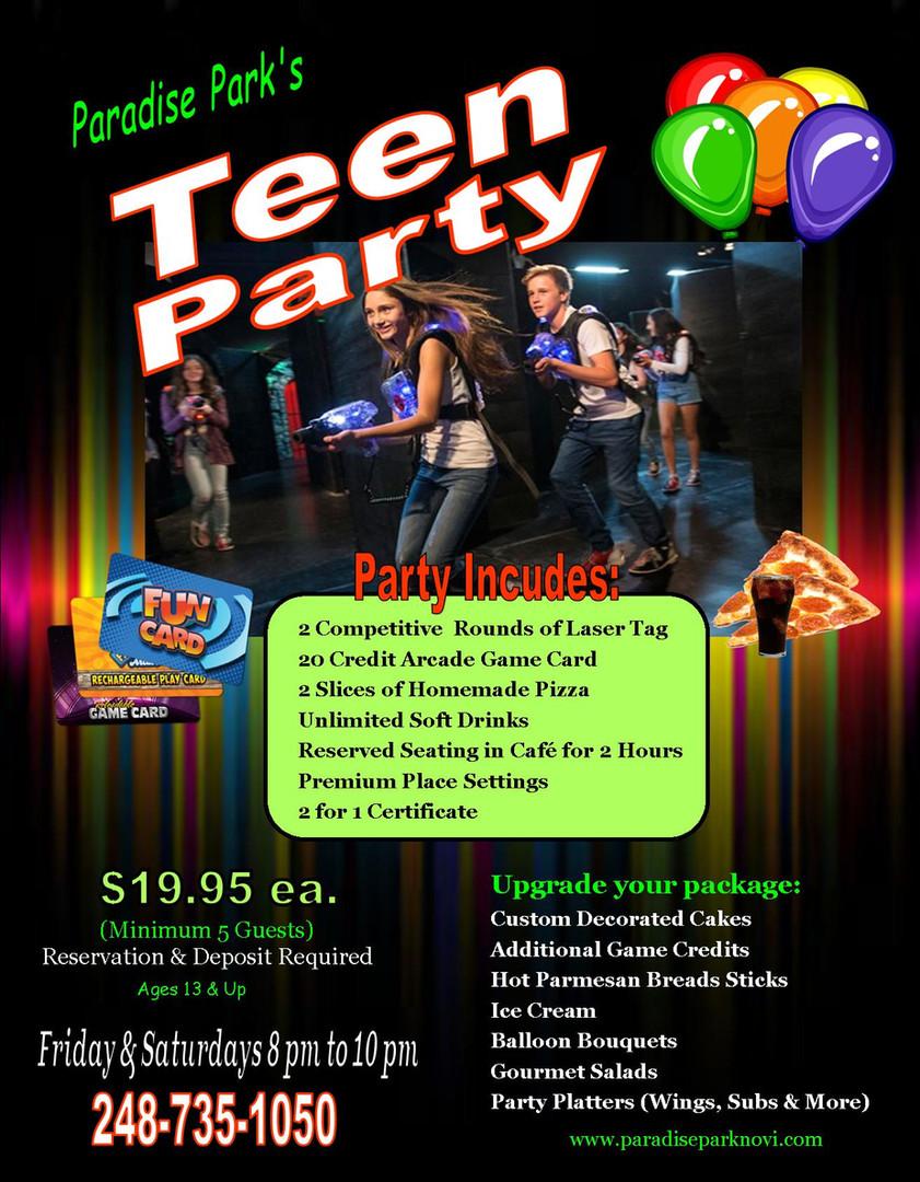 Paradise Park Teen Party Flyer