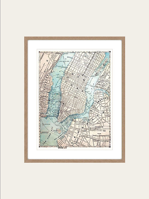 Cuadro Mapa de New York 100x80