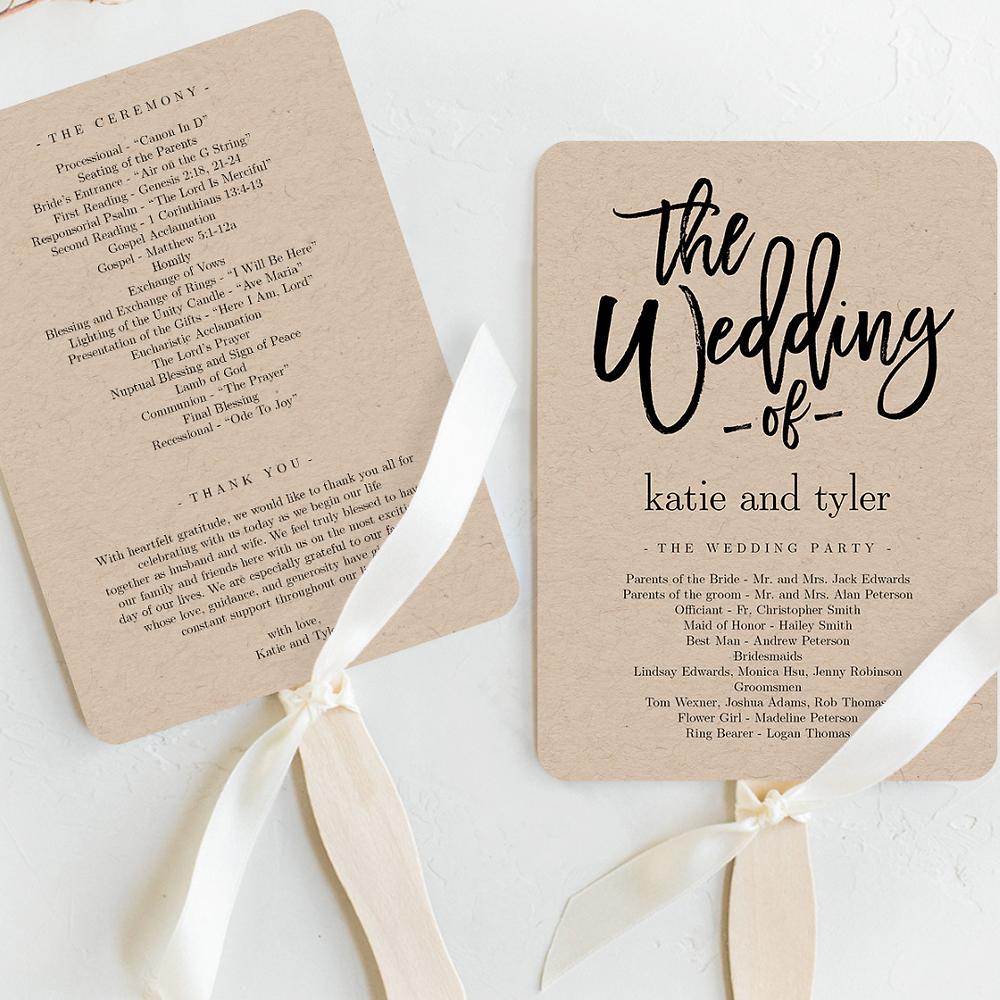 Wedding Program Fans