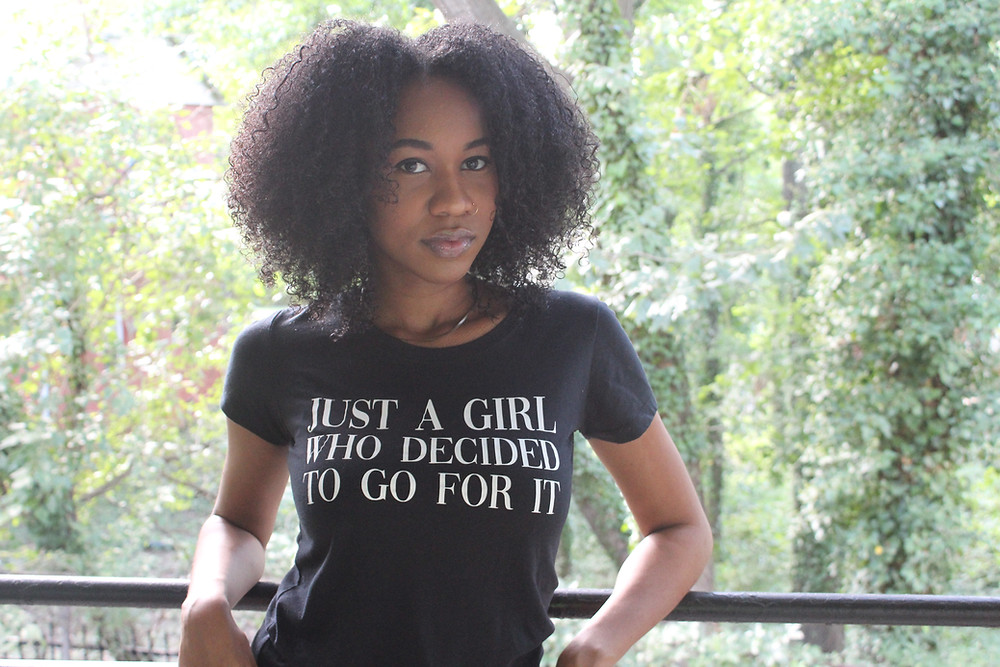"Alison Harris wearing our ""Just a Girl"" tee as a representation of going for it in every area of her life!"