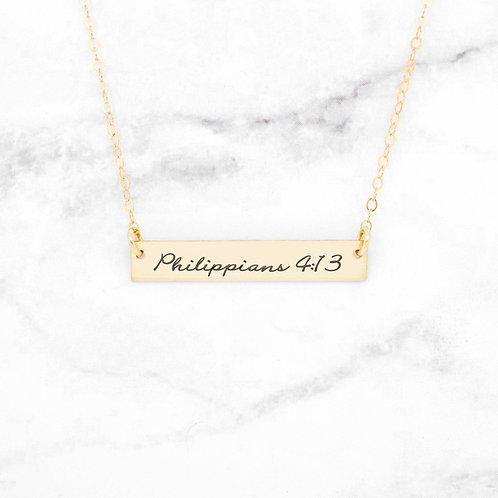 Philippians 4:13 Necklace - Gold Bar Necklace