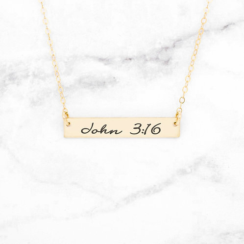 John 3:16 Necklace - Gold Bar Necklace
