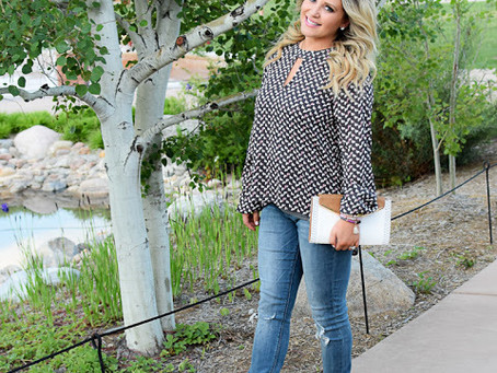 Patterned Top + Colored Heels