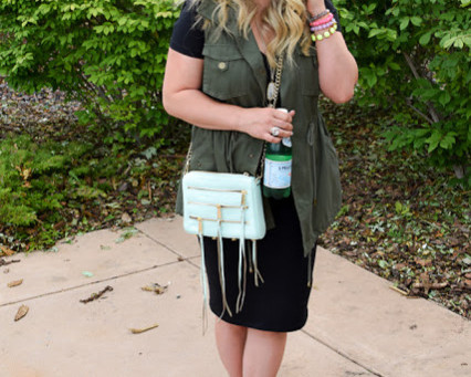 Casual Black Dress + Must-Have Military Vest for Date Night