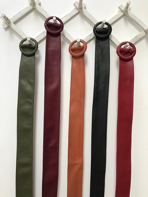 Wide Leather Round Buckle Belt