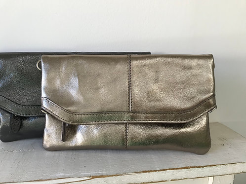 Leather Clutch with Crossbody Strap