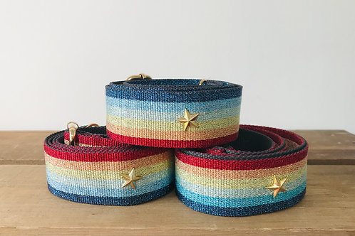Rainbow Shimmer with Gold Star CrossBodyStrap