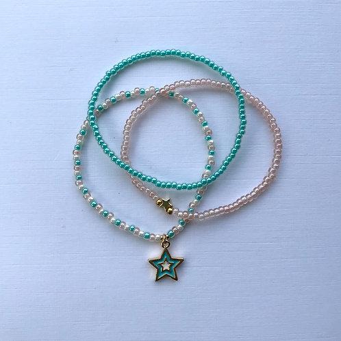 Soft Pink/Aqua Luster Bracelet Set - Aqua Star