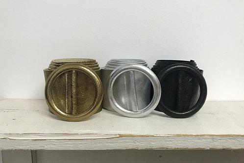 Metallic Wide Leather Round Buckle Belt