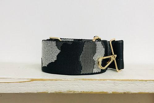 "2"" Black, Grey and Metallic Silver Bag Strap"