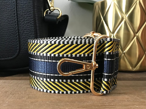 """2"""" Aztec Navy Blue and Yellow Bag Strap"""