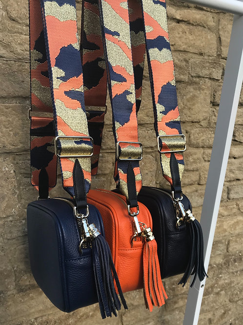 "2"" Navy, Orange and Metallic Gold Camo Bag Strap"
