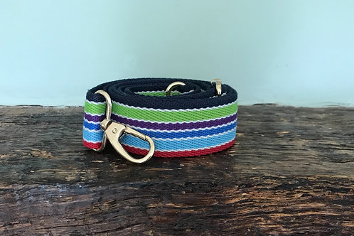 Blue Stripe Rainbow Canvas Crossbody Bag Strap