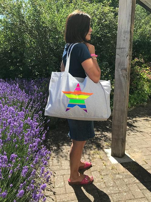 Large Cotton Shopper/beach bag - Neon Rainbow Star