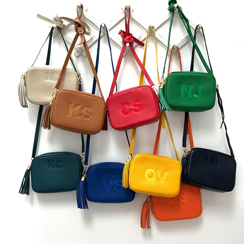 SINGLE COLOUR FONT Monogrammed MILAN Leather Crossbody Bag