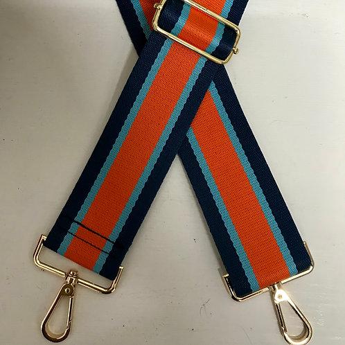 "2"" Orange, Navy and Sky Blue Stripe Bag Strap"