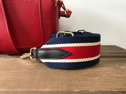 "2"" Navy, Red and Cream Stripe Strap"