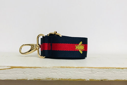 Navy, Red and Gold Bee Bag Strap