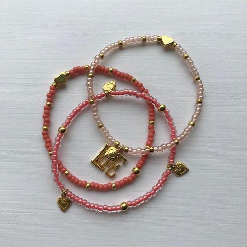 Sent with Love Bracelet Set -  Coral/Gold