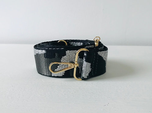 "1.5"" Grey, Black /Metallic Silver Bag Strap"