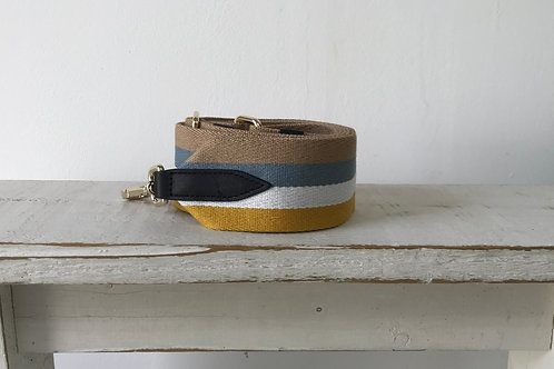 "2"" Mustard and Blue Stripe Strap"