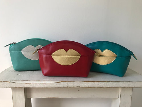 Leather Make Up Bag with Lips