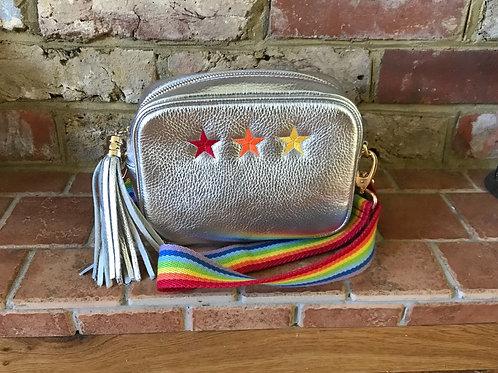 Metallic 3 Star Crossbody Bag with Canvas 7 Stripe Rainbow Strap