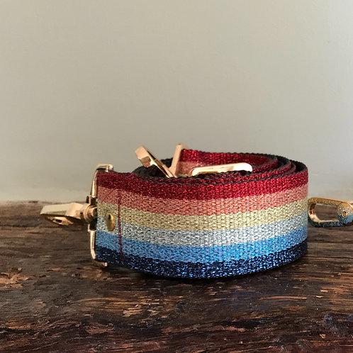 Rainbow Shimmer Canvas Webbed Cross Body/Shoulder Bag Strap