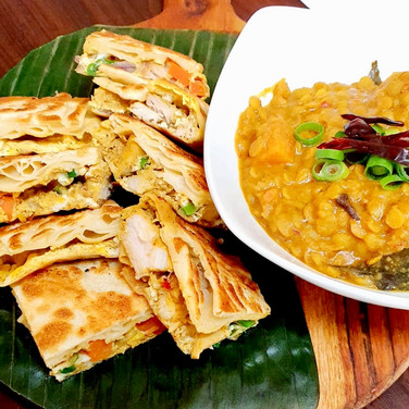 Murtabak (stuffed roti) and lentil curry