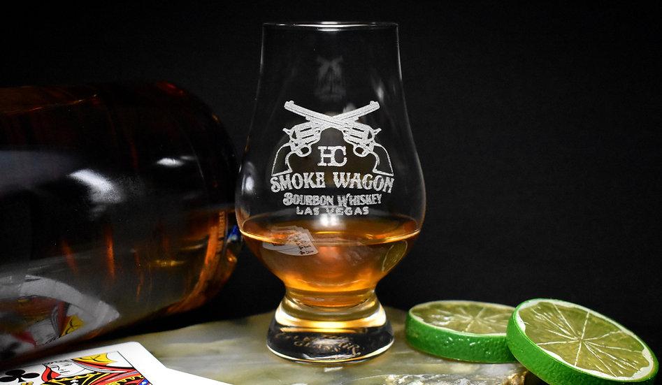 Classic glencairn glass with Smoke Wagon logo on the side